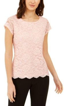 Karl Lagerfeld Paris Scalloped Lace Top