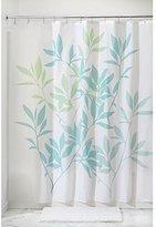 InterDesign Leaves Fabric Shower Curtain 72 x 72, Blue/Green