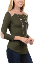 Magic Fit Olive & Tan Ribbed Elbow Patch Scoop Neck Tee