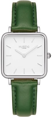 Hurtig Lane Nelio Square Vegan Leather Watch Silver, White & Green