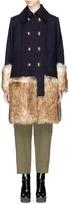 Sacai Faux fur trim wool melton coat