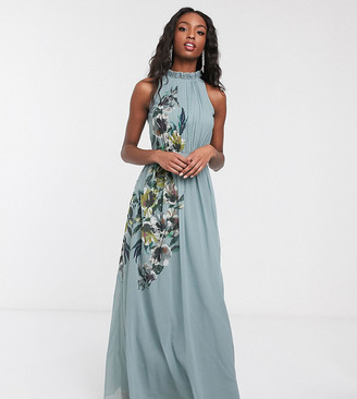 Little Mistress Tall high neck maxi dress with floral detail in blue