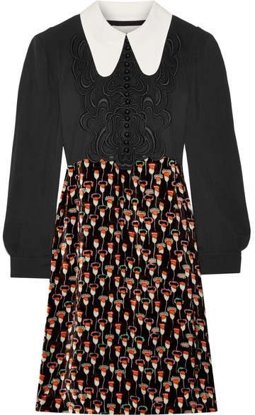 Chloé Embroidered Cady And Printed Velvet Mini Dress - Black