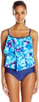 Maxine Of Hollywood Women's Illusions Double Tiered One Piece Swimsuit
