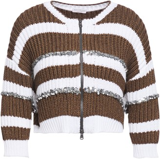 Brunello Cucinelli Sequin-embellished Striped Ribbed-knit Cardigan