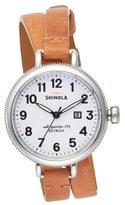 Shinola Women's 'The Birdy' Double Wrap Leather Strap Watch, 34Mm