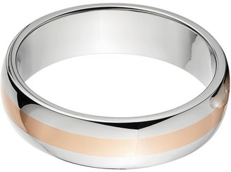 Online 6mm Half-Round Titanium Ring with a 2mm Copper Inlay and a Polished Finish
