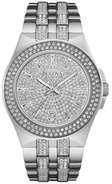 Bulova Men's Pave Crystal Stainless Steel Bracelet Watch 42mm 96B235