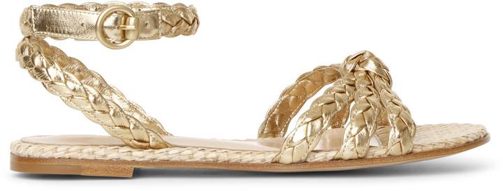 Bee flat gold and raffia sandals