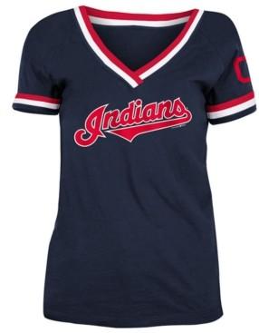 5th & Ocean Cleveland Indians Women's Contrast Binding T-Shirt