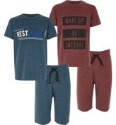 River Island Boys red and blue shorts pyjama set pack