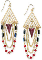 INC International Concepts Gold-Tone Burgundy Triangle Stone and Chain Drop Earrings, Only at Macy's
