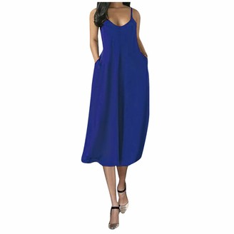 Amandaz Women 50s Vintage Sleeveless V-Neck A-Line Swing Party Cocktail Dress Ladies Large Size Ladies Pure Color Sexy Deep V Sling Dress Blue