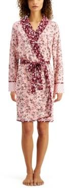 Sesoire Luxe Floral-Print Knit Wrap Robe