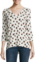 Liz Claiborne 3/4 Sleeve Cheetah V-Neck Knit Top