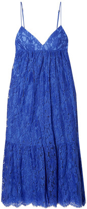 Michael Kors Gathered Cotton-blend Leavers Lace Midi Slip Dress
