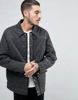Asos Waxed Look Quilted Jacket In Black