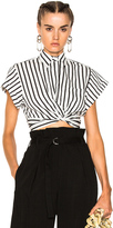 Alexander Wang Striped Cotton Twist Front Crop Short Sleeve Shirt