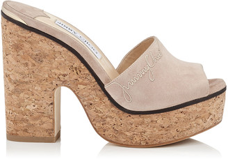 Jimmy Choo DEEDEE 125 Ballet Pink Suede Sandal Wedge with Stitching