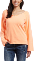 Neon Orange Notch-Boatneck Sweater