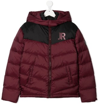 John Richmond Junior TEEN logo print puffer jacket