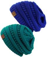 C&C Trendy Warm Chunky Soft Stretch Cable Knit Slouchy Beanie Skully, Teal and Royal