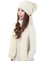 Franterd Women's Warm Woolen Knit Scarf Shawl Caps & Hats Set