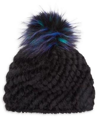 Jocelyn Faux Fur Pom Pineapple Knit Hat