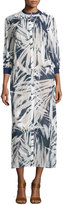 Lafayette 148 New York Darrin 3/4-Sleeve Printed Cotton Dress, White/Multi