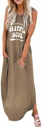 Ribtorsp Womens Sleeveless Maxi Dresses Oversized T-Shirt Dress Side Split Sundress with Pockets(X-Large