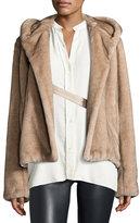 Helmut Lang Hooded Faux-Mink Jacket, Neutral
