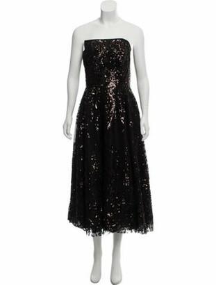 Naeem Khan Silk Sequined Dress Black
