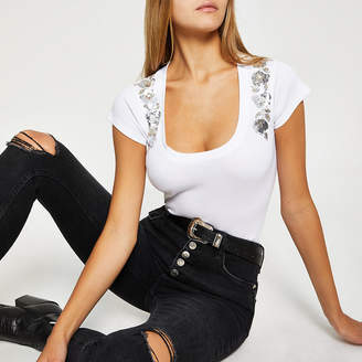 River Island White sequin scoop neck ribbed T-shirt