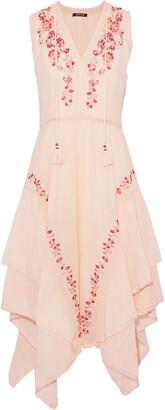 Love Sam Monika Asymmetric Embellished Cotton-gauze Dress