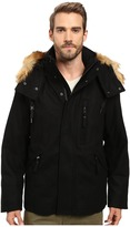 Andrew Marc Fremont Pressed Wool Puffer Bomber w/ Removable Hood