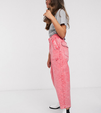 ASOS DESIGN Petite balloon leg worker pant with belt in coral acid wash