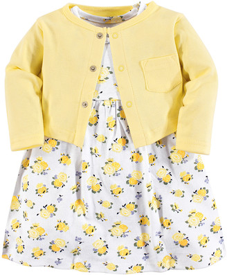 Luvable Friends Girls' Casual Dresses Yellow - Yellow Floral Dress & Cardigan - Newborn, Infant, Toddler & Girls