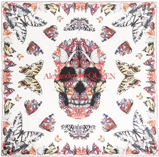 Alexander McQueen Skull And Butterfly Print Silk Scarf