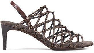 Brunello Cucinelli Bead-embellished Leather Slingback Sandals