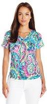 Caribbean Joe Women's Petite Sleeveless Surplice Maxi Dress with Colorblock Wrap-Effect Surplice Skirt