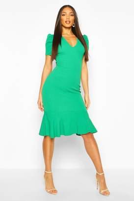 boohoo V Neck Fishtail Midi Dress