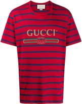 Gucci logo print striped T-shirt