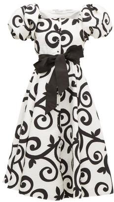 Rodarte Belted Swirl-print Cloque Dress - Womens - White Black