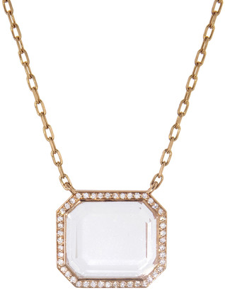 Walters Faith Bell Diamond and Rock Crystal Rectangular Pendant Necklace - Rose Gold