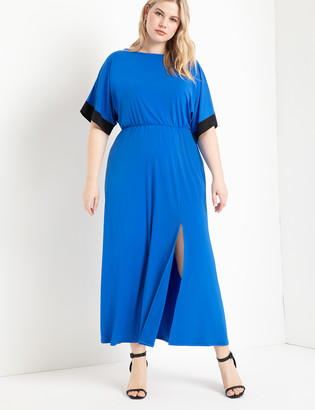 ELOQUII Dolman Sleeve Maxi Dress with Slit