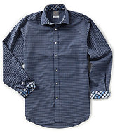 Thomas Dean Big & Tall Check Textured Long-Sleeve Woven Shirt