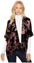 Bindya Pink Floral Velvet Kimono Women's Clothing