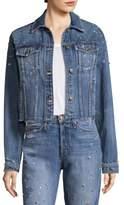 Joe's Jeans Cropped Distressed Rhinestone Boyfriend Jacket