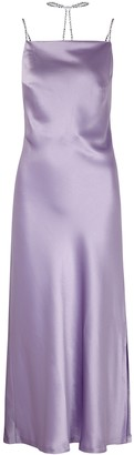 Nafsika Skourti Purple crystal-embellished satin midi dress