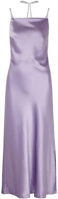 Nafsika Skourti Purple crystal-embellished satin midi dress